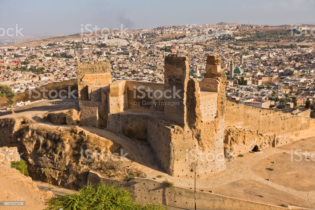 View from Merenides tombs to old city walls, Bab Guissa gate and Fez cityscape, Morocco stock photo