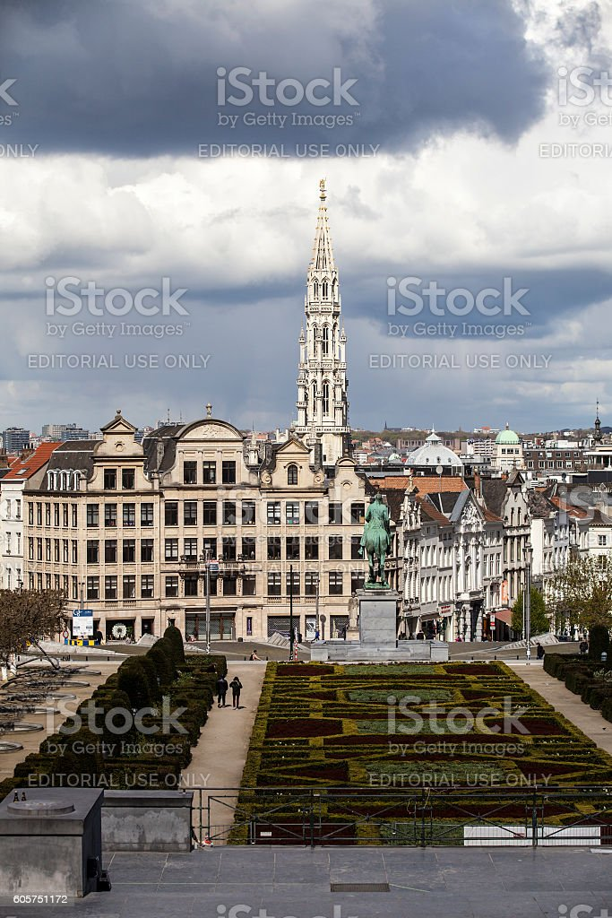 View from Mont des Arts on the famous cityhall tower stock photo