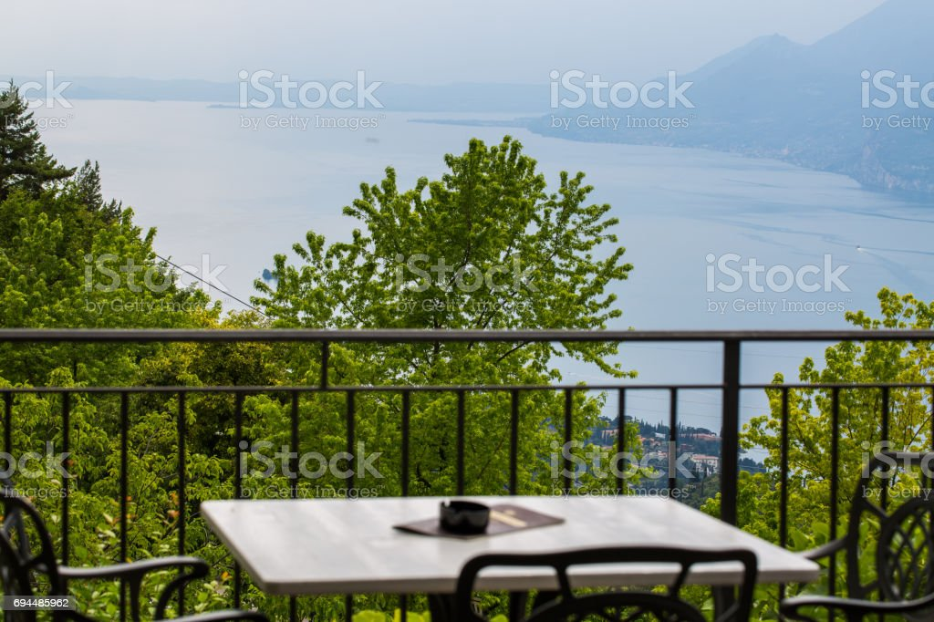 View from Monte Baldo on Malcesine, from a restaurant stock photo