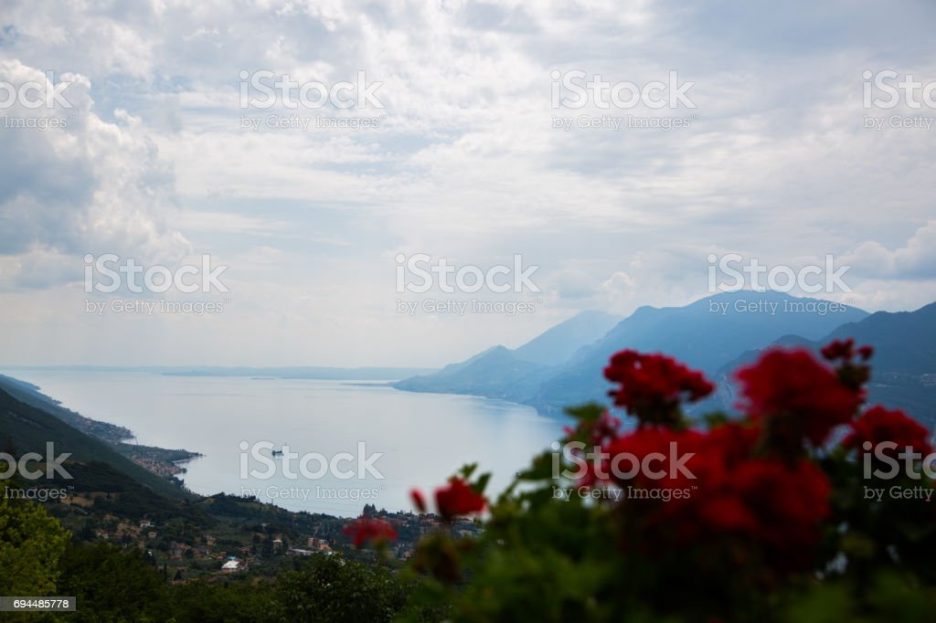 View from Monte Baldo on Malcesine stock photo