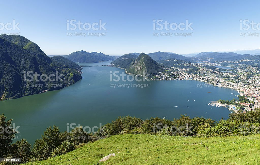 View from Monte Bre in the Gulf of Lugano stock photo