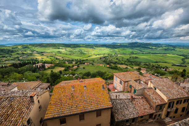 View from Montepulciano old town in Tuscany stock photo