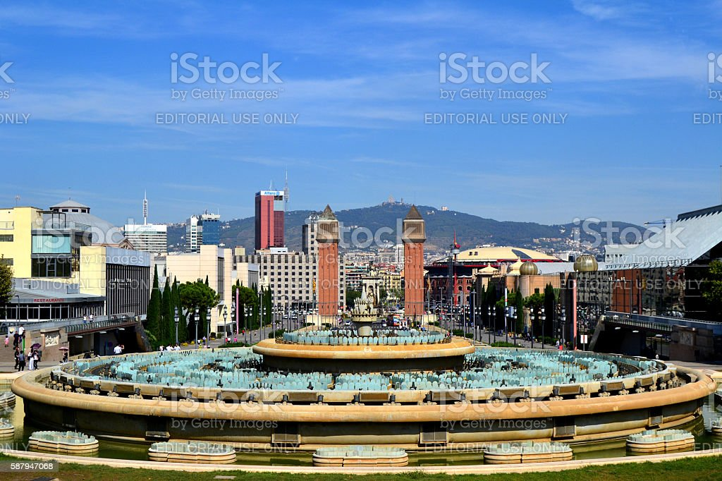 View from Montjuic of Barcelona stock photo