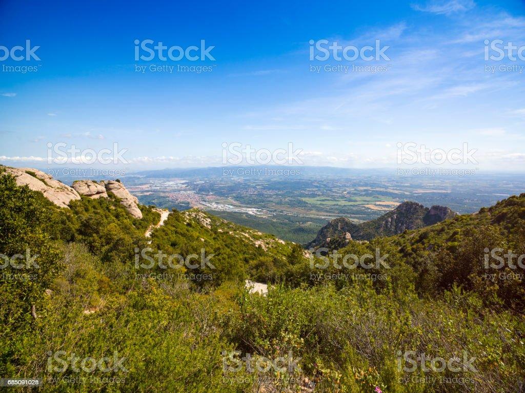 View from Montserrat mountains, Montserrat, Spain foto de stock libre de derechos