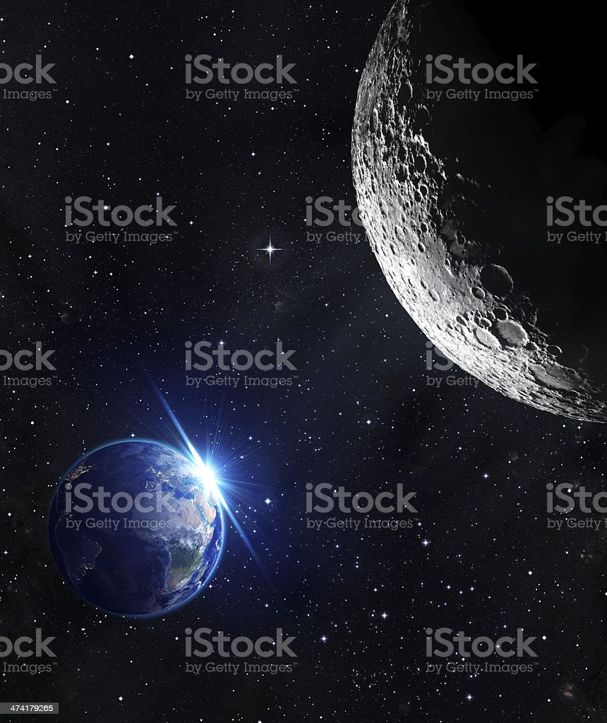 view from moon - sunrise of earth stock photo