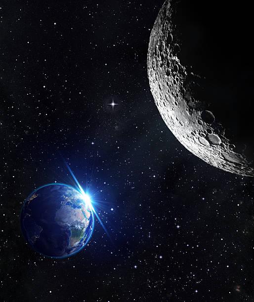 vista dalla luna-alba terra - esplorazione spaziale foto e immagini stock