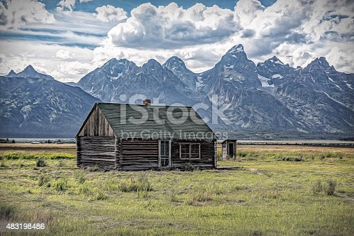 The Grand Tetons in Wyoming from an old Mormon farm and cabin.