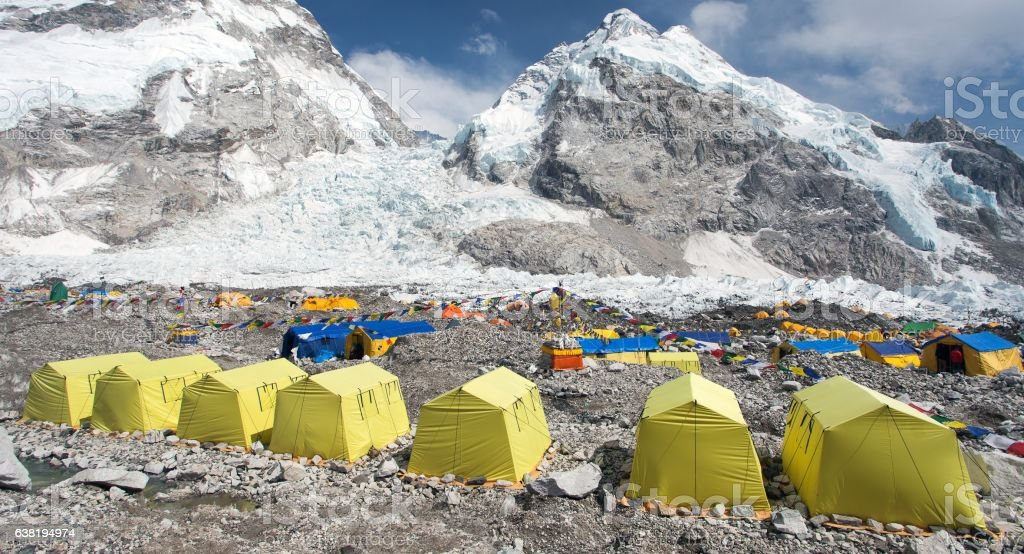 View from Mount Everest base camp, yellow tents stock photo