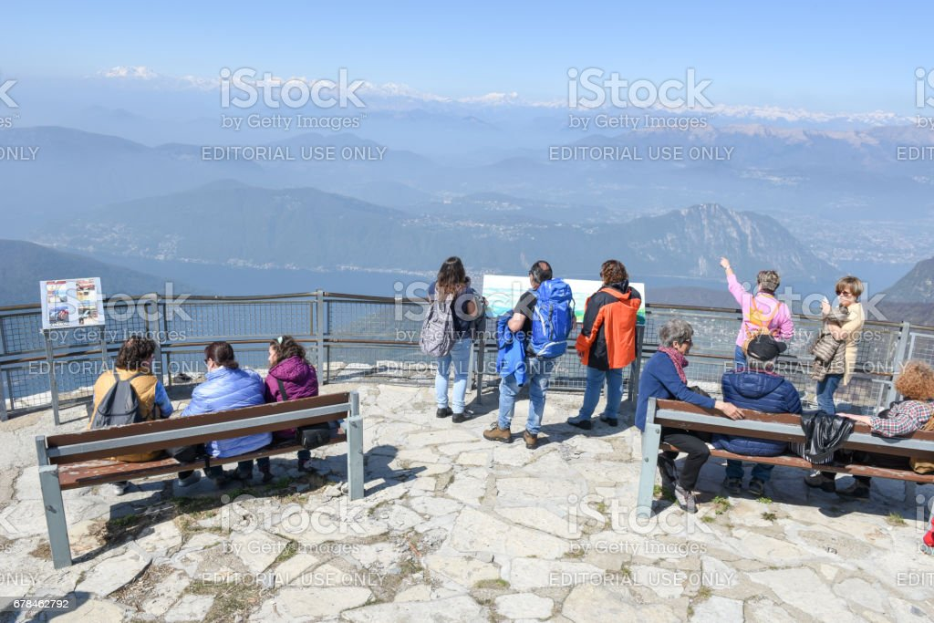 View from mount Generoso to lake Lugano and the Swiss Alps royalty-free stock photo