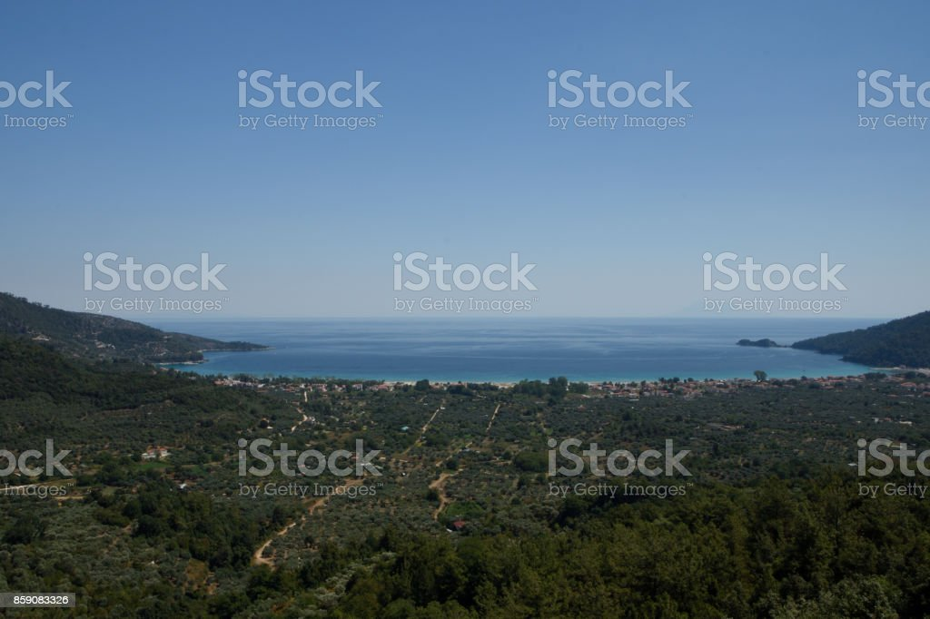 View from mount Ipsarion to the East over the golden bech stock photo