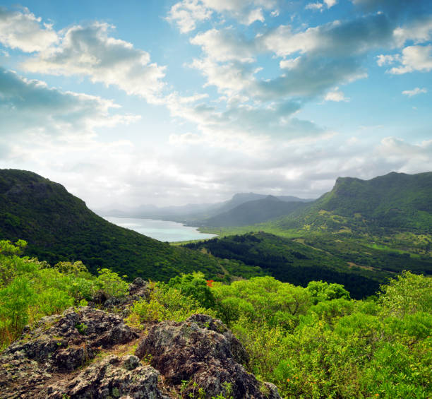 View from mount Le Morne Brabant. Mauritius island stock photo