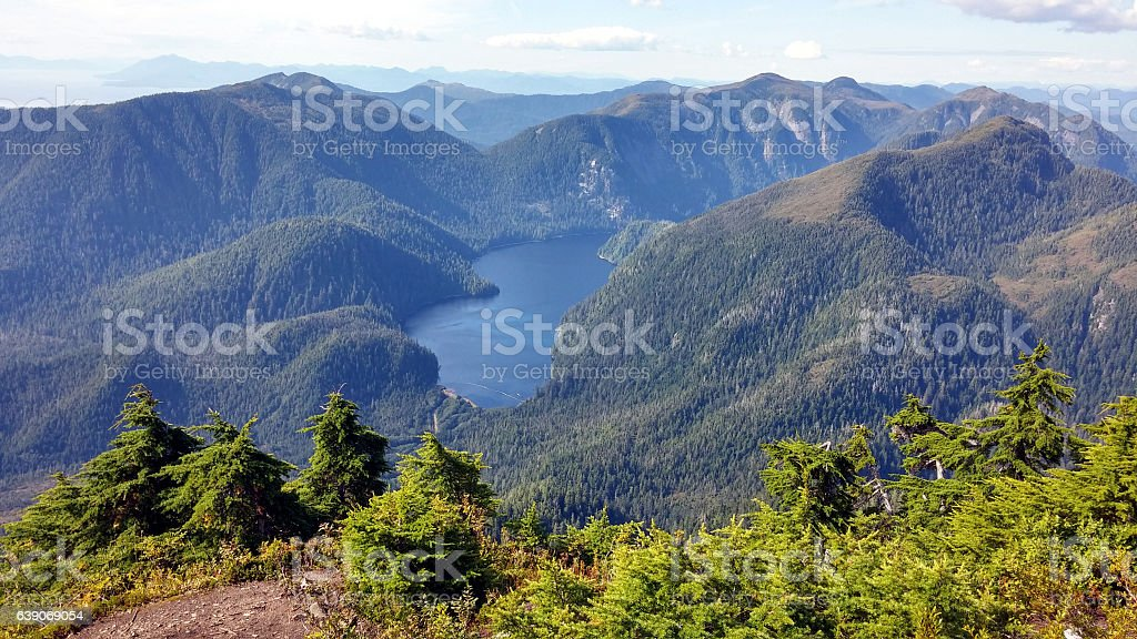 View from Mount Marathon trail, Seward, Alaska stock photo