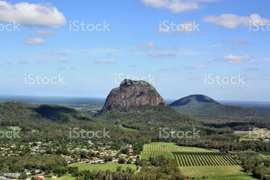 View from Mount Ngungun, Tibrogargan at Glass House Mountains royalty-free stock photo