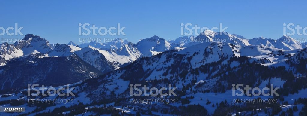 View from mount Rellerli towards mount Rinderberg. stock photo