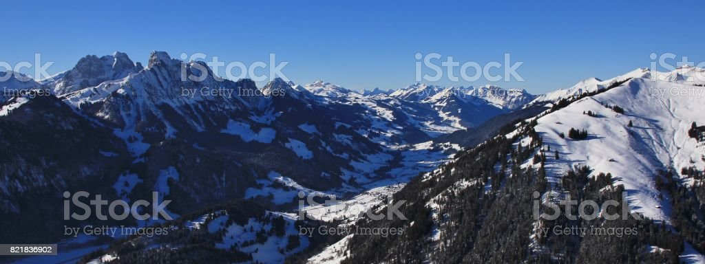 View from mount Rellerli towards Vaud Canton. stock photo