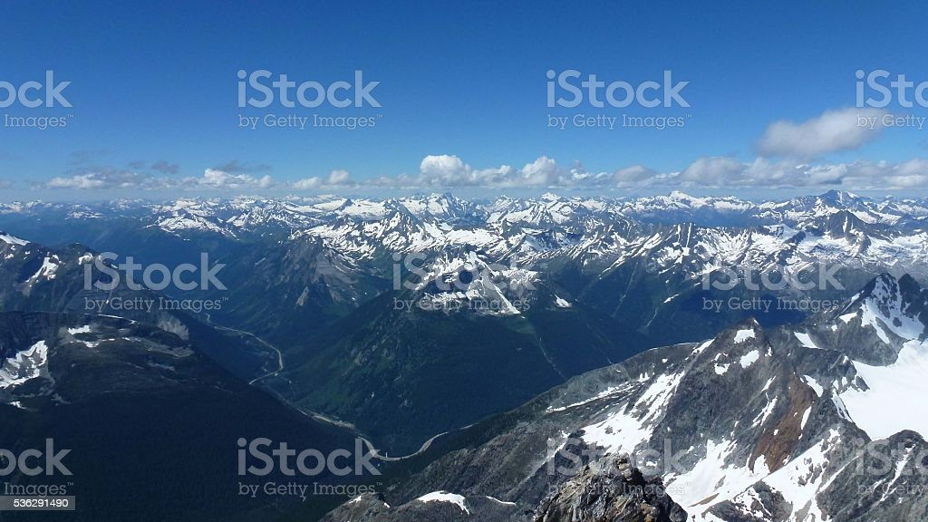 View from Mount Sir Donald Summit stock photo