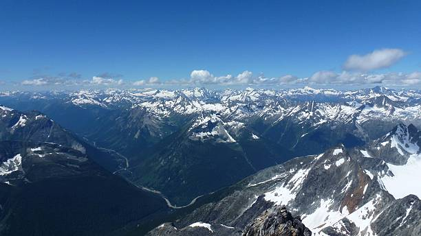 view from mount sir donald summit - british columbia glacier national park stock pictures, royalty-free photos & images
