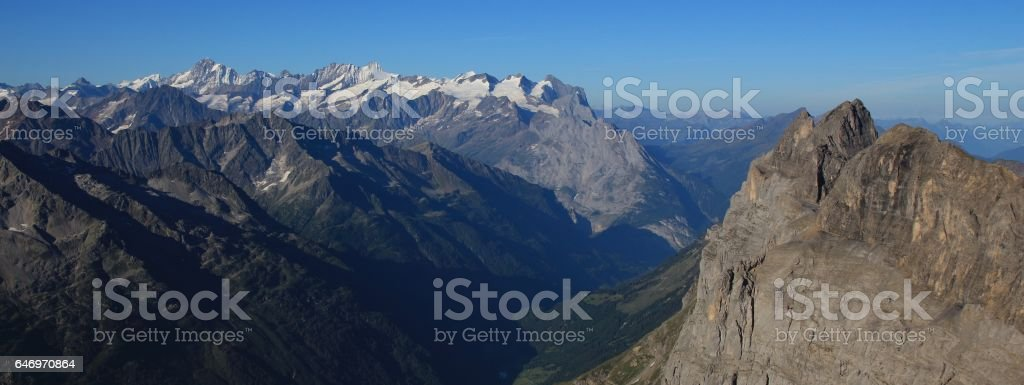 View from mount Titlis towards Innertkirchen stock photo