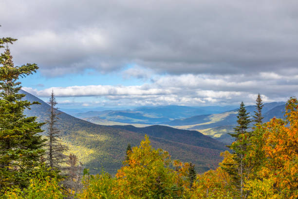 view from Mount Washington in New Hampshire view from Mount Washington in New Hampshire in afternoon light white mountains new hampshire stock pictures, royalty-free photos & images