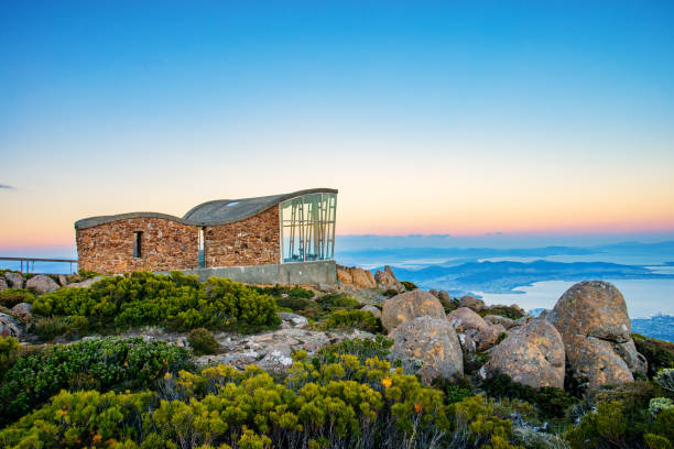 View from Mount Wellington in Hobart, Tasmania at sunset stock photo