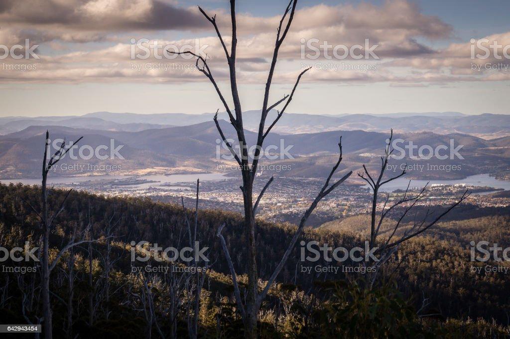 View from Mount Wellington overlooking Hobart, Tasmania, Australia stock photo
