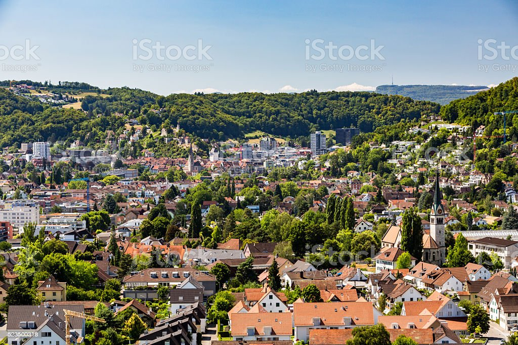 View from Mountain Lagern to Wettingen stock photo