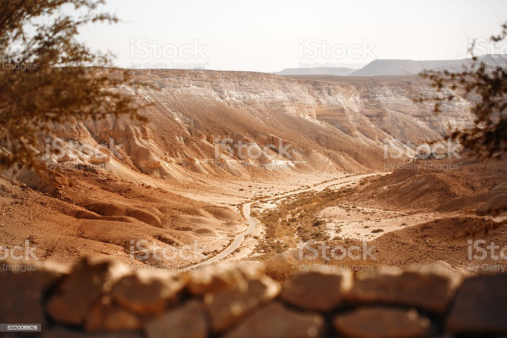 View from Mountain on Negev Desert stock photo