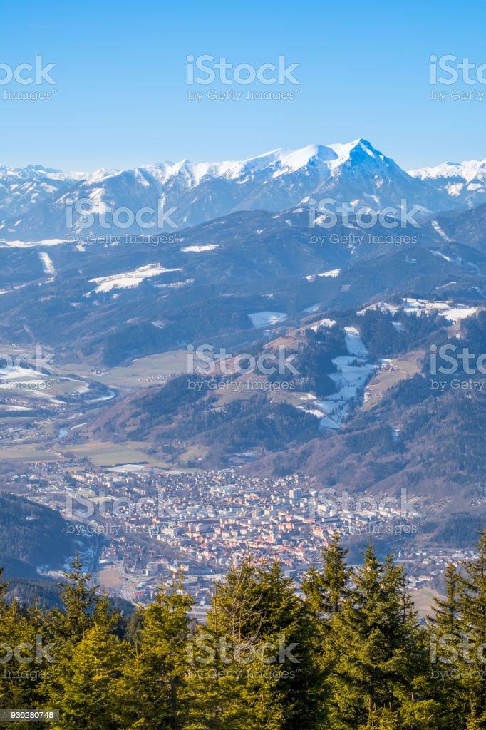 View from mountain Rennfeld to town Bruck an der Mur stock photo