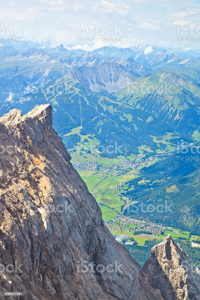 View from mountain Zugspitze, Tirol at village of Ehrwald, Austria stock photo