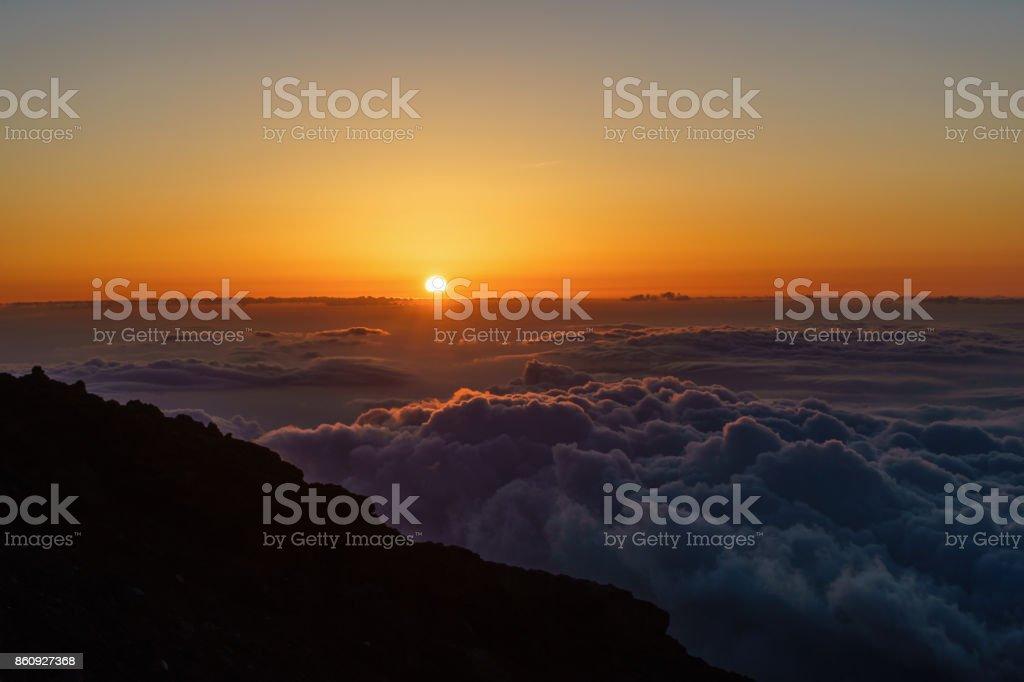 日の出の富士山からの眺め ストックフォト