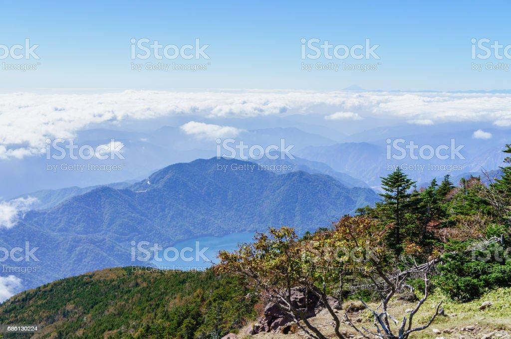 View from Mt. Nikko-Nantai stock photo