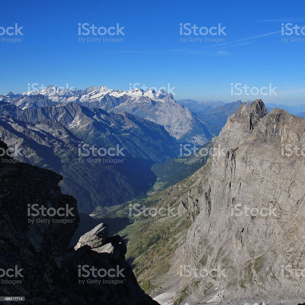 View from Mt Titlis towards Gadmen stock photo