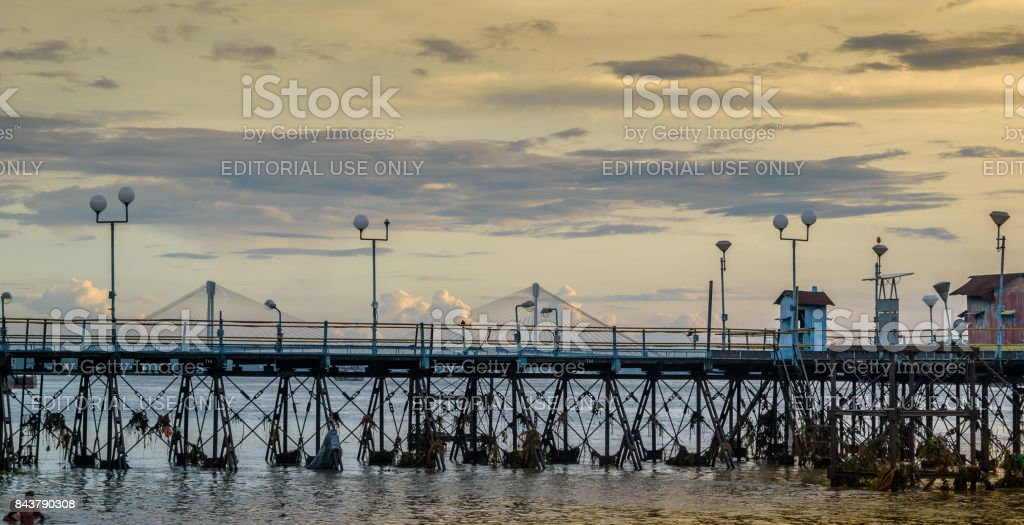 A view from Mullick ghat of an Old abandoned jetty on river Hooghly stock photo