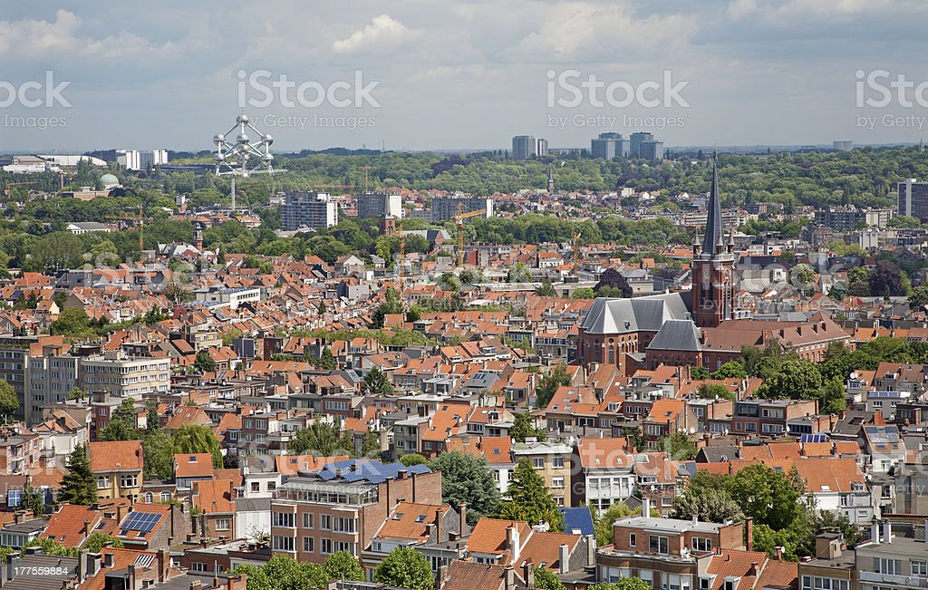 View from National Basilica of the Sacred Heart in Brussels stock photo