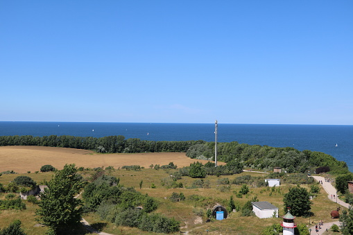View from New lighthouse at Cape Arkona on Island Rügen, Baltic Sea Germany