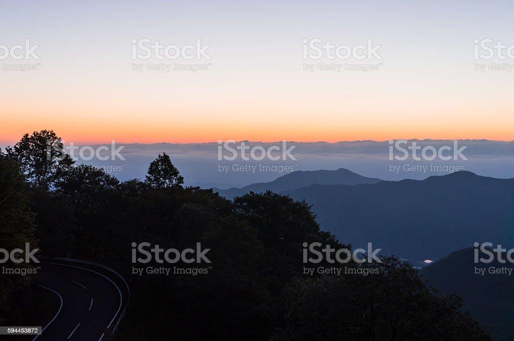 View from Nikko Irohazaka (Iroha Slope) at Daybreak ストックフォト