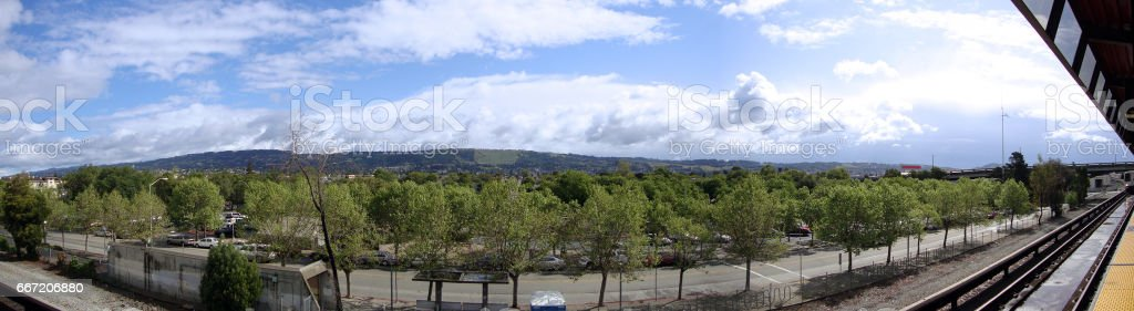 View from Oakland Coliseum BART Station platform stock photo