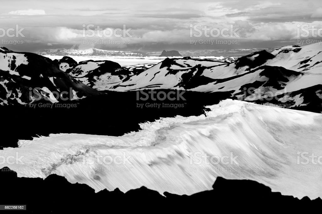 View from Ok Vulcano to the snowfields of Thorisdalur. Iceland. stock photo