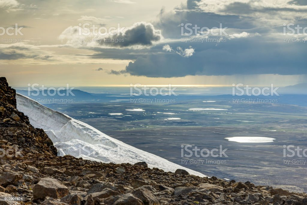 View from Ok Vulcano to tundra lakes and Atlantic. Iceland. stock photo