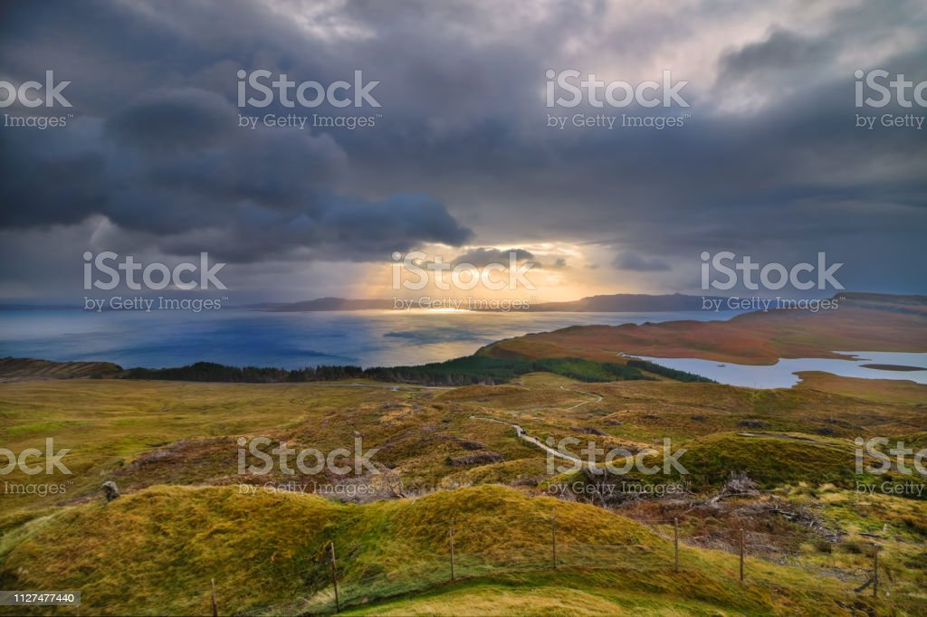View from Old Man of Storr, Isle of Skye, Scottish Highlands stock photo