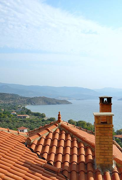 View from old town Molyvos overlooking the rooftops stock photo