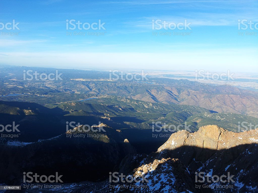 View from on top of Pikes Peak stock photo