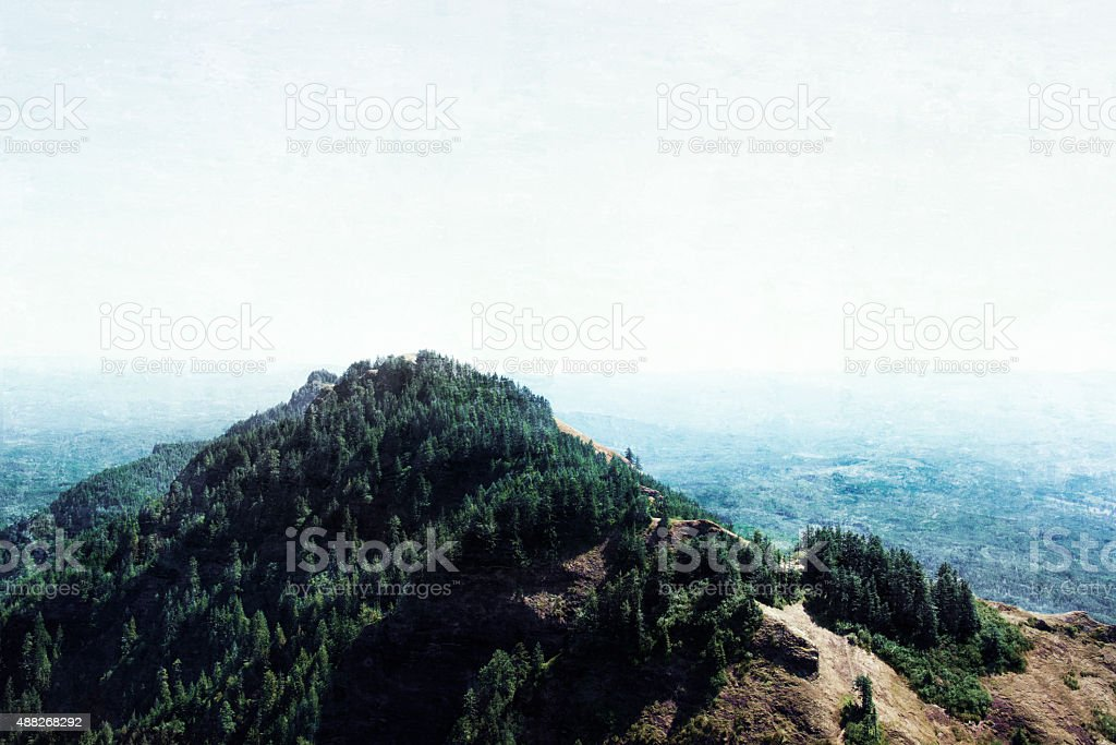 View from on top of Saddle Mountain stock photo