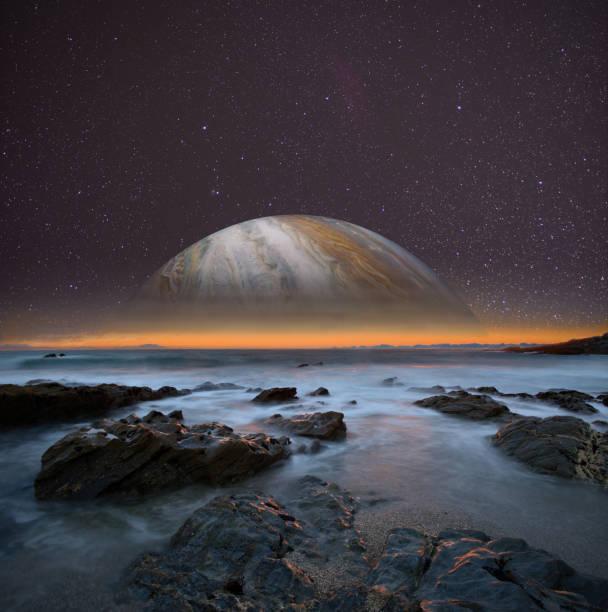 Blick von einem der Satelliten des Jupiter. Konzeptbild. Elemente dieses Bildes von der NASA zur Verfügung gestellt. – Foto