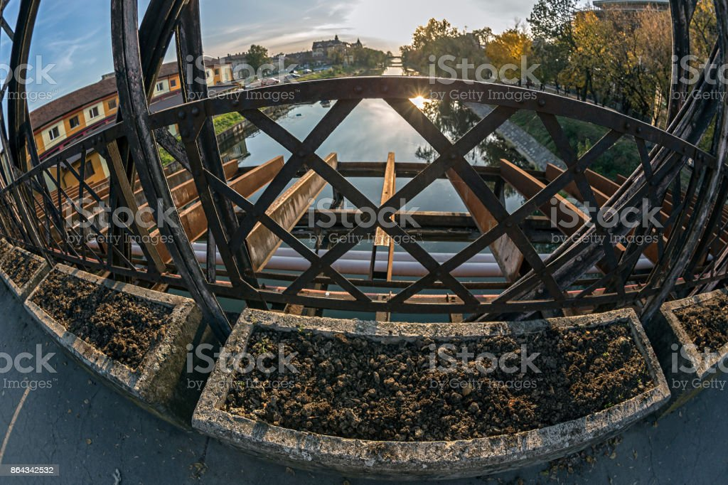 View from one of the oldest metal bridges in Timisoara, Romania stock photo