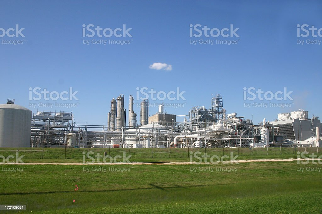View from outside the fence of a chemical plant stock photo