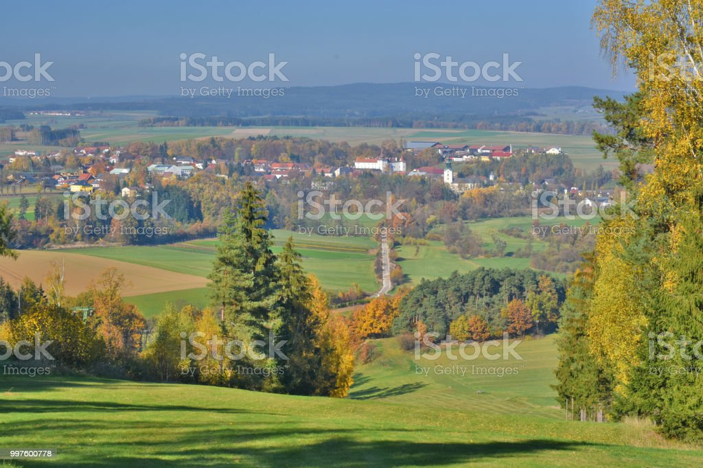 View from over town of Dobersberg. stock photo