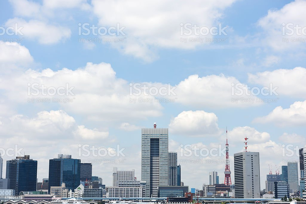 View from park at Tokyo Bay and cityscape stock photo