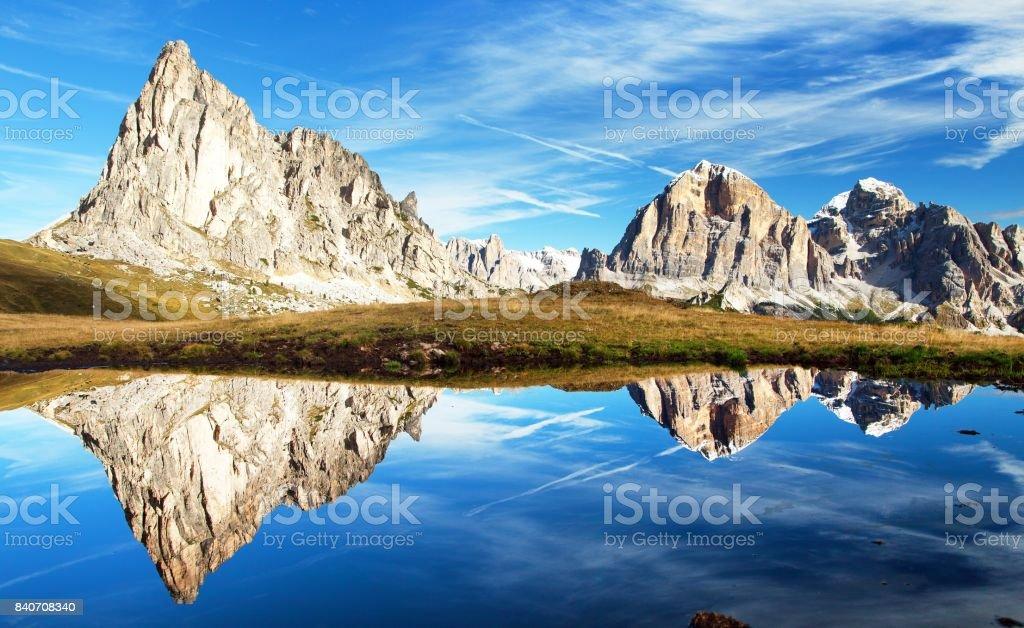 View from passo Giau, mountain lake, Dolomites mountains stock photo