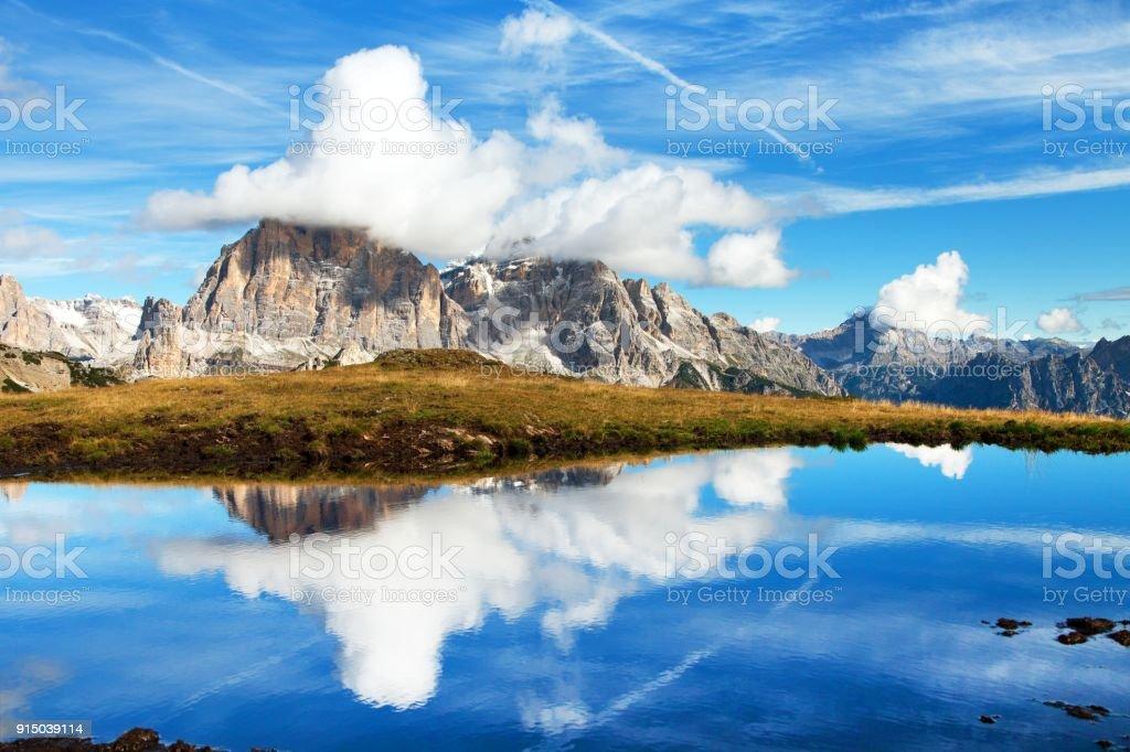 View from passo Giau, Tofana, Tofano or Le Tofane Gruppe stock photo